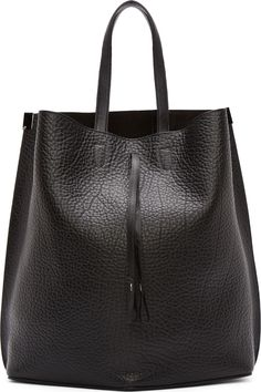 Maison Margiela Black Grained Leather Flat-Back Tote | www.pilaeo.com #men's #luxury #fashion