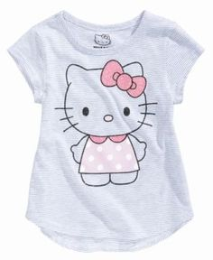 Hello Kitty Striped Graphic-Print T-Shirt, Toddler Girls (2T-5T) - Gray 2T