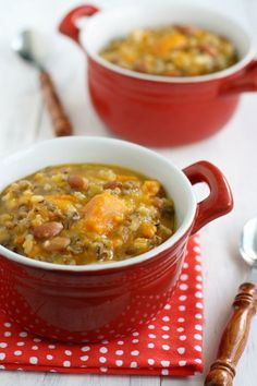 Slow cooker recipe that features wild rice, sweet potatoes, and pinto beans.