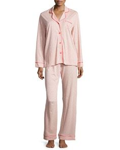"Cosabella ""Bella"" pajama set in dot print. Rounded notch collar; button front. Long sleeves with banded cuffs. Chest patch pocket. Relaxed fit. Includes matching pajama pants. Pull-on style. Cotton/mo"