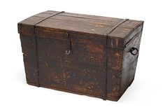 """Antique wood """"gypsy wagon"""" trunk with original hand-wrought iron hardware, 19th century."""