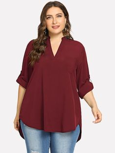 To find out about the Plus Dip Hem Solid Blouse at SHEIN, part of our latest Plus Size Blouses ready to shop online today! Look Plus Size, Plus Size Women, Plus Size Blouses, Plus Size Dresses, Moda Chic, Blouse Designs, Types Of Sleeves, Shirt Blouses, Fashion News