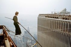 Philippe Petit out for an early morning walk in lower Manhattan, August 7 1974