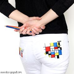 Customiser un jean avec de la broderie inspiration Mondrian, DIY par Alice Gerfault Mondrian, David Et Goliath, Tissu Minky, Pop Couture, Fashion Marketing, Moroccan Style, Types Of Art, Diy, Textiles