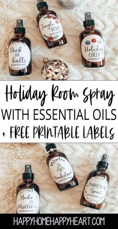 Holiday Room Spray Recipes + Free Printable Labels - Christmas for Adults Essential Oils Christmas, Essential Oils Room Spray, Essential Oil Blends, Diy Gifts With Essential Oils, Young Living Oils, Young Living Essential Oils, Printable Labels, Free Printable, Bottle Labels