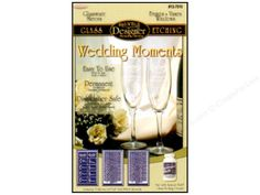 Rub 'n' Etch Stencils are the perfect way to create beautiful designs on any glass surface. Etching is easy to do, permanent and dishwasher safe. Each package comes with stencil, applicator stick and instructions. For use with Armour Etch Glass Etching Cream. Wedding Moments Set- Set contains; 1 sheet of Bride, Groom, Maid of Honor, Best Man, Bridesmaid and Groomsmen in calligraphy each with a wedding icon, and 2 sheets with months, dates and years. Great for customizing the toasting…