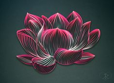 """NELUMBO NUCIFERA [Lotus], 3/8"""" quilling paper, unmounted. Approximately 12.6 x 9.4 in / 32 x 24 cm. JUDiTH+ROLFE"""
