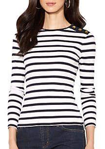 Lauren Ralph Lauren Buttoned Shoulder Striped Top Women's White/Navy X Fall Fashion 2016, Autumn Fashion, Moda Chic, Crew Neck Shirt, Black Skinnies, Cool Shirts, Casual Wear, Cute Outfits, Clothes For Women