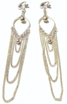 Handcrafted  Clip On Earrings  Silver Plated  Spade Four by ADKOR, $11.50