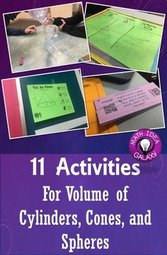 Great, easy to use ideas to practice finding the volume of cylinders cones and spheres. Resources for anticipatory sets, practice, and enrichment.