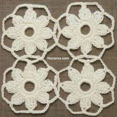Granny Square Crochet Pattern, Crochet Squares, Crochet Motif, Crochet Doilies, Crochet Flowers, Crochet Lace, Knitting Patterns, Crochet Patterns, Crochet Symbols
