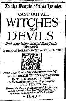 """Pamphlet, 1693, """"To the People of this Hamlet, Cast Out All Witches and Devils"""""""