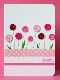 flower cards Just stopping by to share a card which has been inspired by the washi tape challenge at Less is More, the floral fantasy challenge at CAS on Sunday and the current Muse challenge where Marion Vagg Homemade Birthday Cards, Happy Birthday Cards, Homemade Cards, Tarjetas Diy, Button Cards, Paper Cards, Cards Diy, Preschool Crafts, Kids Crafts