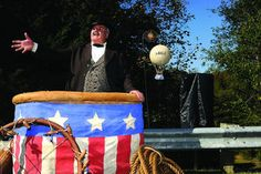 Balloons' war roles recalled.  Re-enactor Kevin Knapp portrays Thaddeus Lowe during the dedication of a historical marker that recognizes the Union Balloon Corps.