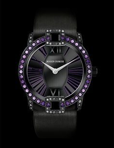 Roger Dubuis Velvet Amethysts and Spinels. my birthstone Fine Watches, Cool Watches, Watches For Men, Ladies Watches, Wrist Watches, Roger Dubuis, Breitling Watches, Cartier, Beautiful Watches