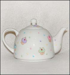 Cupcake Party Hand Painted Tea Pot by SerendipityCrafts on Etsy, $27.95