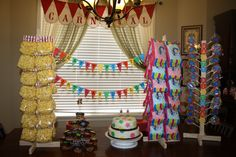 Carnival Birthday - Pre sacked popcorn and cotton candy ----- might be a better option than renting machines Circus Carnival Party, Circus Theme Party, 5th Birthday Party Ideas, Fall Carnival, Carnival Birthday Parties, Carnival Themes, Circus Birthday, Birthday Bash, Carnival