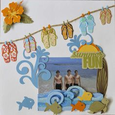 Cute Summer Fun Page...with flip-flops hangin' on a clothesline & fish.