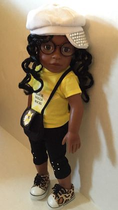 "18 inch doll ""Black Dolls Rock!"" LanaDoll with hat. by LanaDollCreations on Etsy"