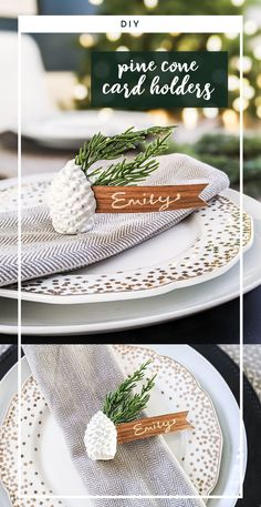 SO EASY! These white concrete place card holders can be whipped up for a holiday dinner in no time! They can also make great settings for weddings and use an inexpensive supply list that can be picked up at craft and home improvement stores. Get the details for the DIY. #concrete #pinecone #holidaytable #tabledecorating #christmas #christmasDIY #placecardholders #tablesetting #namecardholder #christmastable #cement Christmas Place Cards, Rustic Christmas, Christmas Diy, Modern Christmas, White Concrete, Diy Concrete, Cement, Holiday Tables, Holiday Dinner