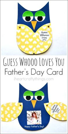 """Guess Whooo loves you"" and the wings open… Kinder basteln DIY Vatertagskarte. ""Guess Whooo loves you"" und die Flügel öffnen sich mit einem Kinderfoto. Toddler Crafts, Preschool Crafts, Diy Crafts For Kids, Gifts For Kids, Craft Ideas, Kids Diy, Simple Crafts, Food Ideas, Fathers Day Crafts"