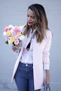 Rose Quartz  Blazer and High waisted jeans from Marshalls.