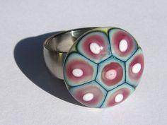 Glas-Aufsatz für Wechselring, elfenbein..Lampwork von Saga Beads - Lampwork Glaskunst auf DaWanda.com