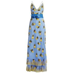 Altuzarra Artesia pineapple-print silk gown ($11,250) ❤ liked on Polyvore featuring dresses, gowns, blue multi, silk gown, sequin gown, sequin dress, couture evening gowns and sequin ball gown