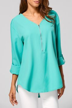 $16.54 Zippered Loose Blouse - Green