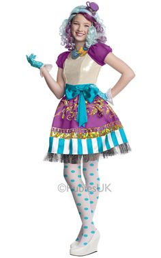 Ever After High Madeline Hatter Child Costume: Be your favorite fantasy character with this dress, necklace, glove, and tights! Ever After High Mad Costumes For Teens, Halloween Costumes For Girls, Halloween Dress, Spirit Halloween, Girl Costumes, Disney Costumes, Movie Costumes, Costume Ideas, Buy Costumes