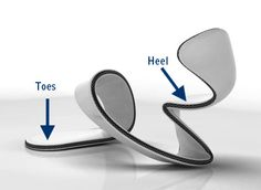 Julian Hakes from London has designed a pair of shoes with no foot plate -- apparently this is the prototype