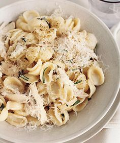 I am a little bewildered as to why this calls for a rotisserie chicken when you could. . . I dunno, just bake some chicken breasts and then shred them, but whatever. Anyway, I love simple meals like this. Chicken, parmesan, pasta, rosemary.