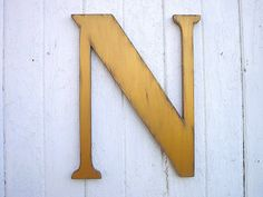 Shabby chic Rustic Wooden letter N 18 inch serif by LettersofWood Golden color, Distressed finish.