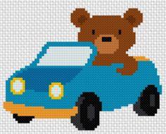 Bear Driving Car Handmade Unframed Cross by CustomCraftJewelry Cross Stitching, Cross Stitch Embroidery, Cross Stitch Patterns, Baby Room Wall Art, Nursery Wall Art, Kids Wall Decor, Childrens Room Decor, Batman Gifts, Pixel Art Templates
