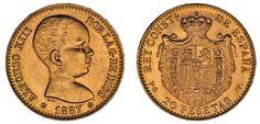 20 GOLD PESETAS/ORO. ALFONSO XIII. 1887*62. REACUÑACIÓN. UNC/SC. NICE - BONITA.