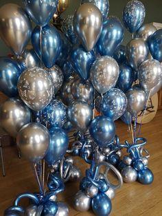 Blue and Silver wedding balloons 20th Birthday, Birthday Bash, Birthday Celebration, Balloon Bouquet, Balloon Arch, Boquet, Wedding Balloon Decorations, Wedding Balloons, Winter Theme