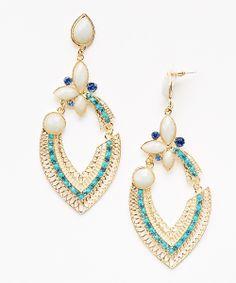 Turquoise Crystal & Gold Teardrop Earrings