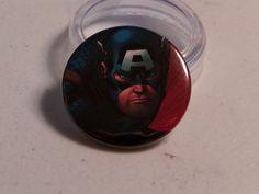 "Comic Book 1.5"" Button// Captain America, $1.00"