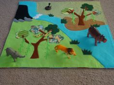 Fold away jungle scene playmat / jungle playmat by SarahSewsIt