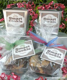 "cookie boxes or cookie bags with a tag that says"" You're one Smart Cookie"""