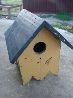 handmade birdhouses | Vintage Old Mustard Painted Handmade Birdhouse by thecherrychic