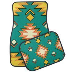 Golden Green Traditional Aztec Pattern Car  Mats - patterns pattern special unique design gift idea diy