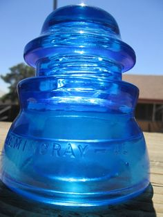 Beautiful Hemingray 45 Peacock Blue Glass Insulator Colored or Stained