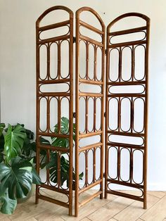 "Bamboo Cane Room Divider - 3 folding panels - bent bamboo cane with rattan joints - simple and beautiful design  Measures: 70.5"" tall 48.5"" at widest while upright (Folded) 16"" x 7""  CONDITION REFERENCE CHART RATING: Excellent Its been in a time vault waiting for you to find it! Its in"