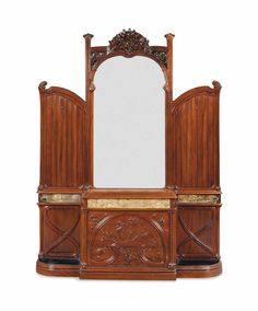 A FRENCH ART NOUVEAU WALNUT, BRASS AND TILED HALL STAND -  CIRCA 1900
