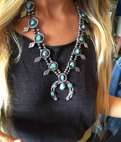 When Wednesday feels like the weekend.... Vintage Navajo squash blossom necklace