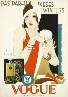 Das Parfüm dieses Winters - Vogue Parfüm - 1926-27 - Plakat Berlin - by Jupp Wiertz (German, 1888-1939) - @~ Mlle