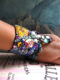 Hope Bracelet, Vintage Embroidery, Sparkly, Rainbow, Yellow, Pink, Purple, Blue, Flower, Boho