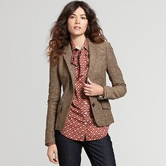 Tommy Hilfiger women's blazer. Blazer Outfits For Women, Blazers For Women, Cool Outfits, Casual Outfits, Jackets For Women, Clothes For Women, Fall Blazer, Tweed Blazer, Tweed Jacket