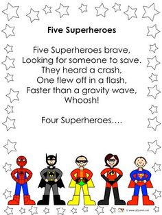 Finger Plays 7 Five superheroes rhyme Superhero Preschool, Superhero Classroom Theme, Preschool Songs, Preschool Classroom, Kids Songs, Classroom Themes, Superhero Party, Batman Party, Preschool Ideas